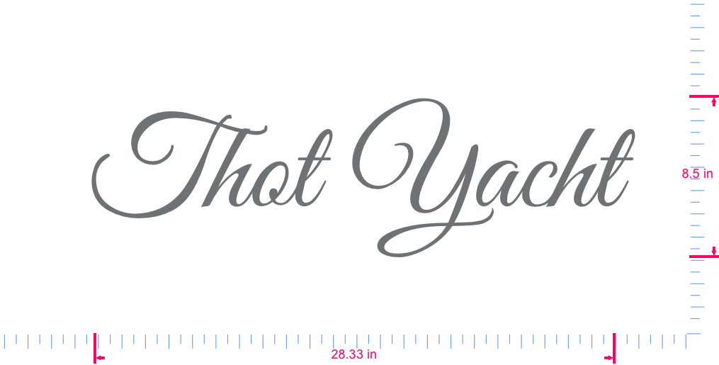 Text Thot Yacht Vinyl custom lettering decall/8.5 x 28.33 in/ Silver Grey /