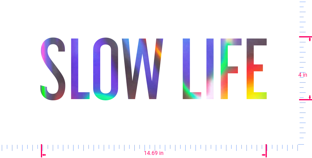 Text SLOW LIFE Vinyl custom lettering decall/4 x 14.69 in/ OilSlick Chrome /