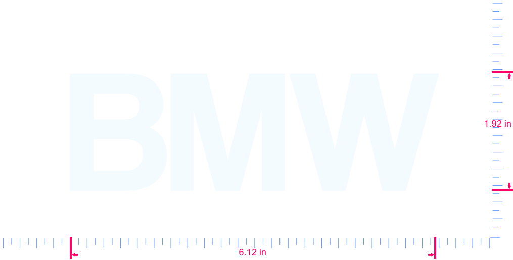 Text BMW Vinyl custom lettering decal/1.92 x 6.12 in/ White /