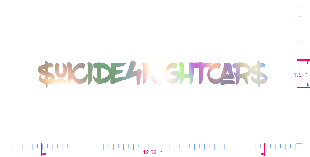 Text $uicide4NightCar$ Vinyl custom lettering decal/1.5 x 12.62 in/ OilSlick Chrome /