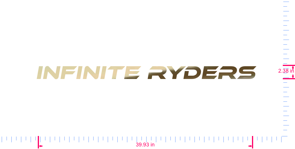 Text INFINITE RYDERS Vinyl custom lettering decal/2.38 x 39.93 in/ Gold Chrome /