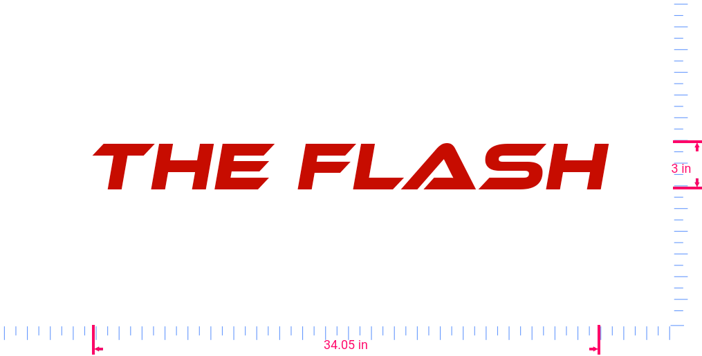 Text The Flash Vinyl custom lettering decal/3 x 34.05 in/ Red /
