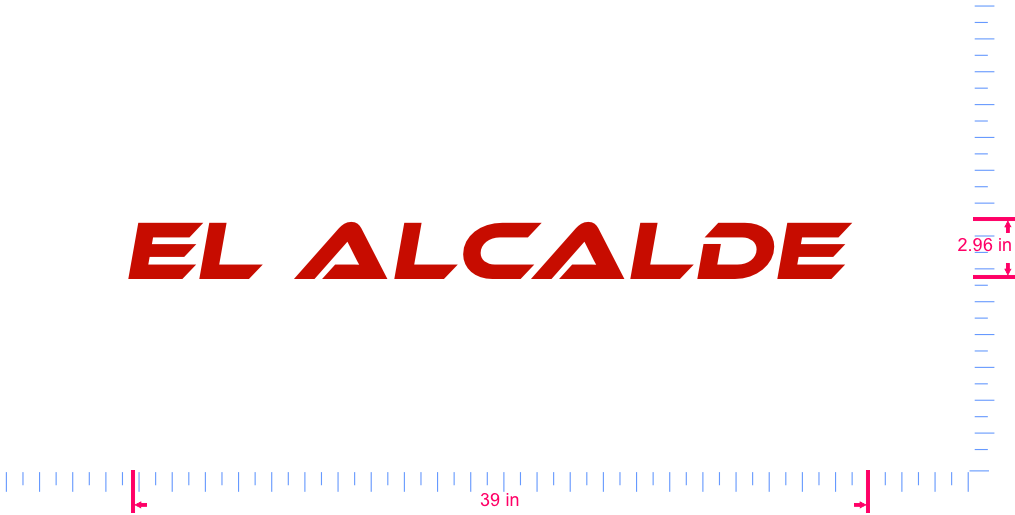 Text El alcalde  Vinyl custom lettering decall/2.96 x 39 in/ Red /
