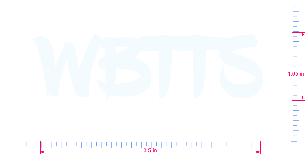 Text WBTTS Vinyl custom lettering decall/1.05 x 3.5 in/ White /