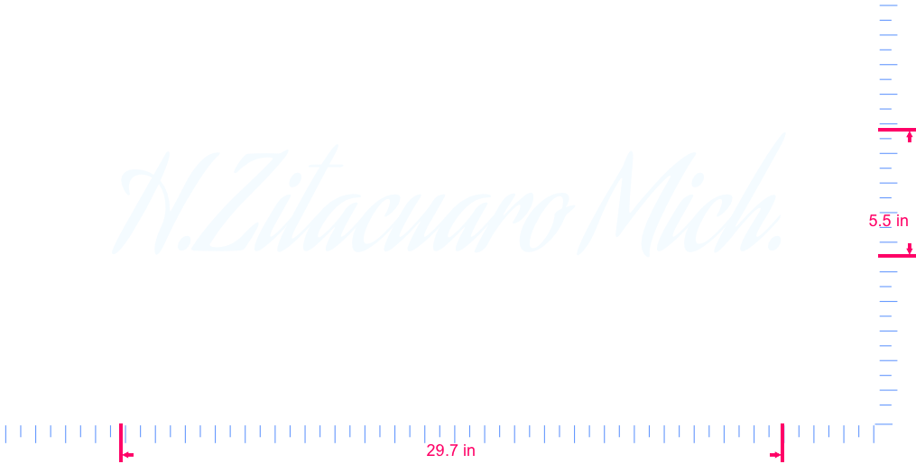 Text H.Zitacuaro Mich. Vinyl custom lettering decall/5.5 x 29.7 in/ White /