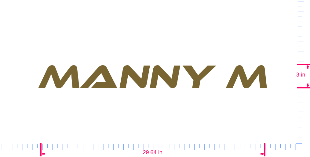 Text Manny M Vinyl custom lettering decal/3 x 29.64 in/ Gold /