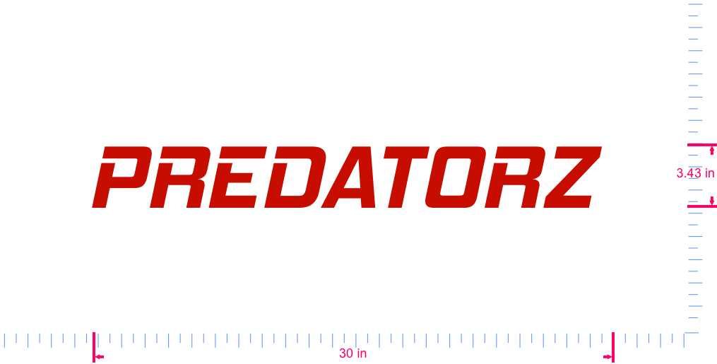 Text PREDATORZ  Vinyl custom lettering decall/3.43 x 30 in/ Red /