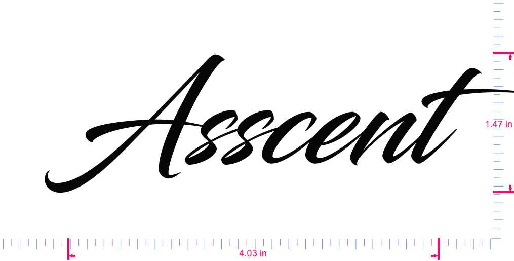 Text Asscent Vinyl custom lettering decal/1.47 x 4.03 in/ Black /