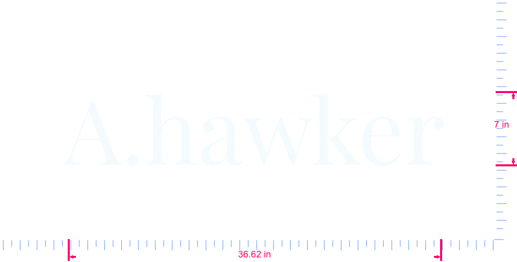 Text A.hawker Vinyl custom lettering decal/7 x 36.62 in/ White /
