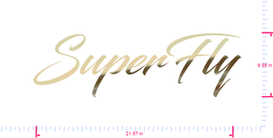 Text SuperFly Vinyl custom lettering decal/6.98 x 21.97 in/ Gold Chrome /