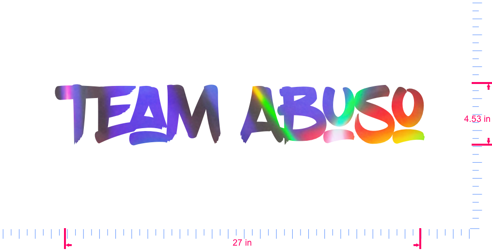 Text Team Abuso Vinyl custom lettering decall/4.53 x 27 in/ OilSlick Chrome /