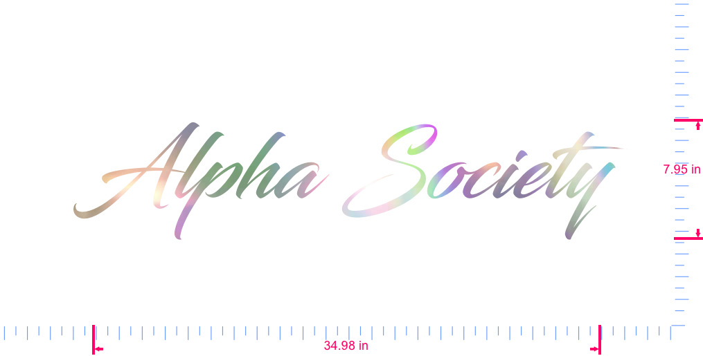 Text Alpha Society Vinyl custom lettering decal/7.95 x 34.98 in/ OilSlick Chrome /