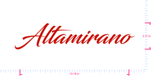 Text Altamirano Vinyl custom lettering decal/3.11 x 13.18 in/ Red /