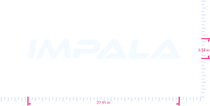 Text IMPALA Vinyl custom lettering decal/3.54 x 27.91 in/ White /