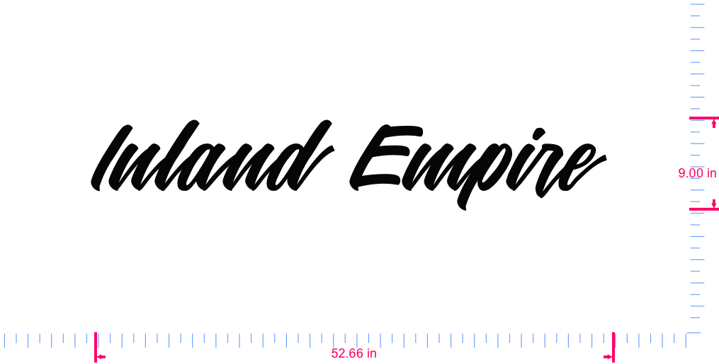 Text Inland Empire  Vinyl custom lettering decal/9.00 x 52.66 in/ Black /