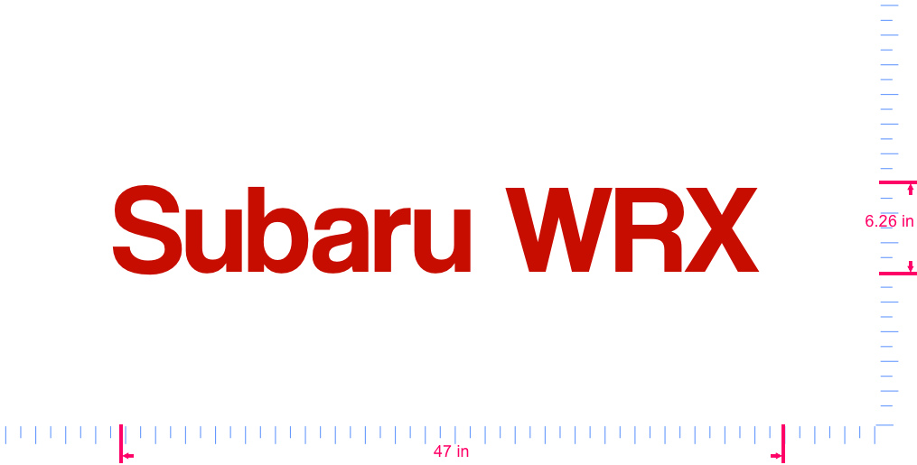 Text Subaru WRX  Vinyl custom lettering decal/6.26 x 47 in/ Red /