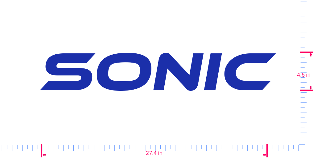 Text Sonic Vinyl custom lettering decal/4.5 x 27.4 in/ Brilliant Blue /