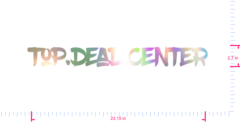Text Top.dead.center Vinyl custom lettering decal/2.7 x 23.15 in/ OilSlick Chrome /