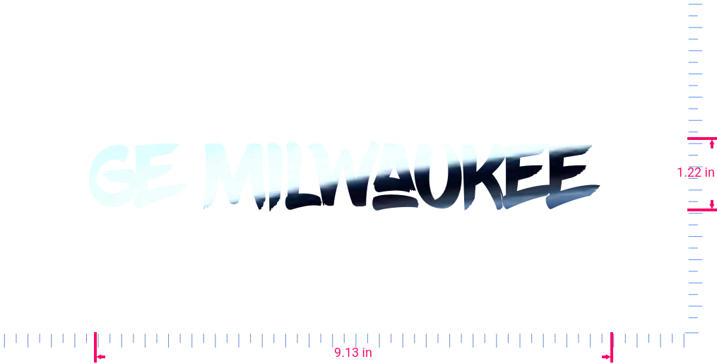 Text GE Milwaukee  Vinyl custom lettering decal/1.22 x 9.13 in/ Mirror Chrome /