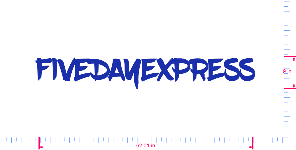 Text FIVEDAYEXPRESS Vinyl custom lettering decal/9 x 62.01 in/ Brilliant Blue /