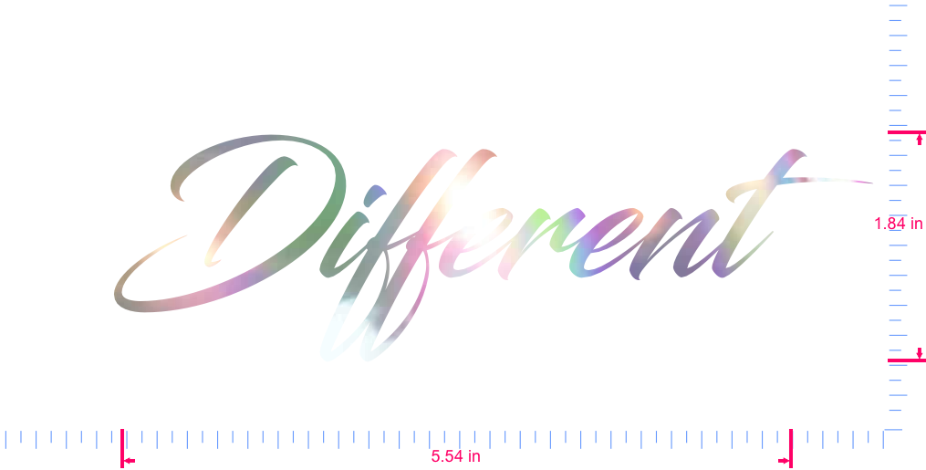 Text Different  Vinyl custom lettering decal/1.84 x 5.54 in/ OilSlick Chrome /