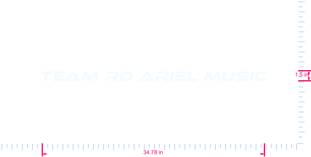 Text TEAM RD ARIEL MUSIC Vinyl custom lettering decal/1.5 x 34.78 in/ White /