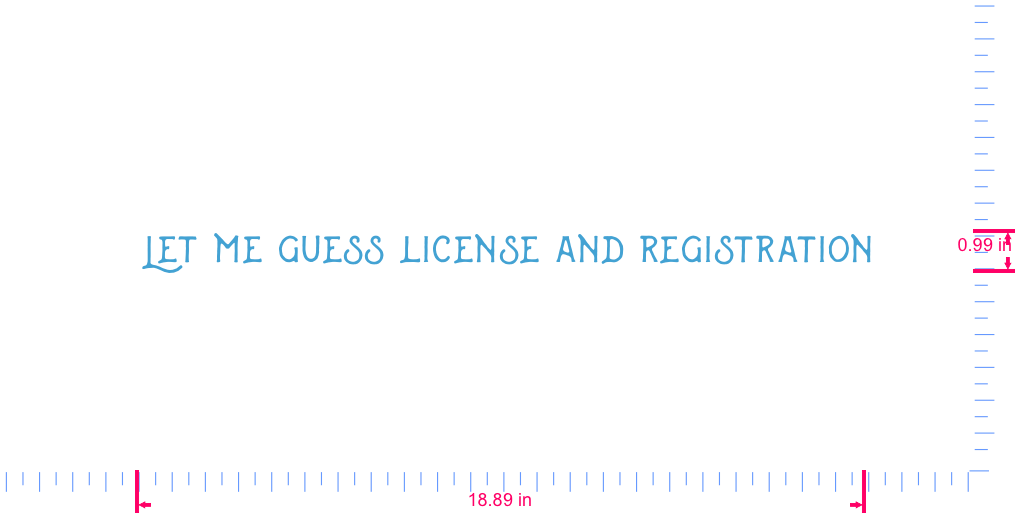 Text  Let me guess license and registration Vinyl custom lettering decal/0.99 x 18.89 in/ Ice Blue /