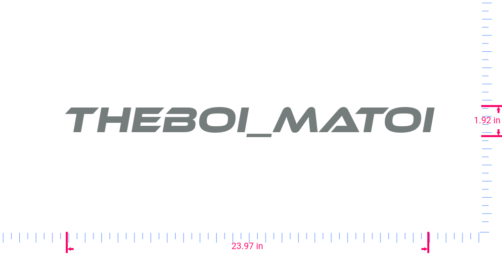 Text TheBoi_Matoi Vinyl custom lettering decal/1.92 x 23.97 in/ Grey /
