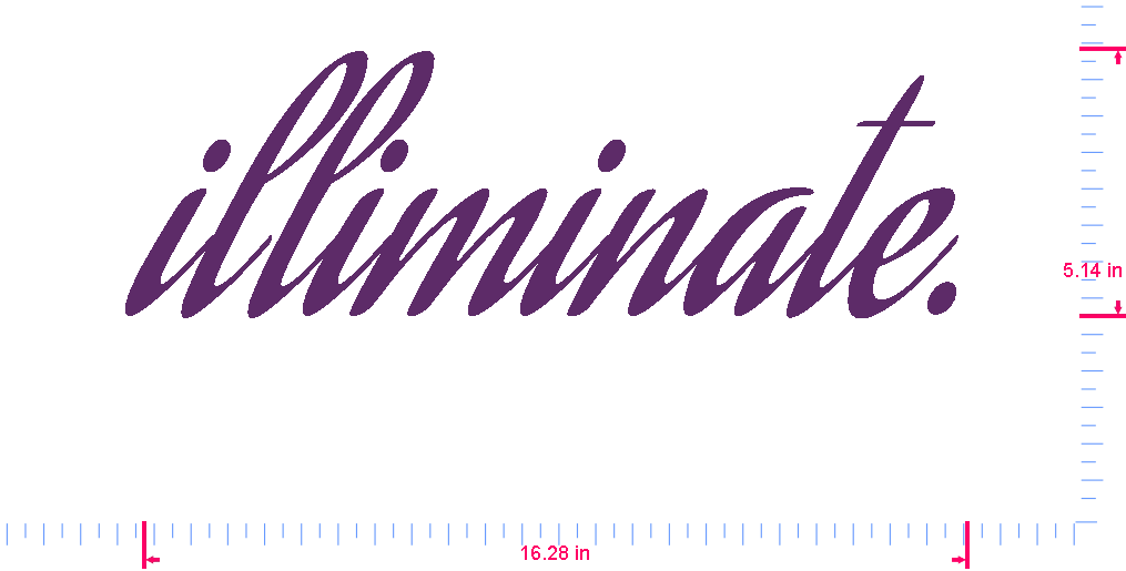 Text illiminate. Vinyl custom lettering decal/5.14 x 16.28 in/ Violet /