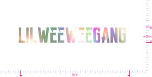 Text Lilweeweegang  Vinyl custom lettering decal/4.09 x 30 in/ OilSlick Chrome /