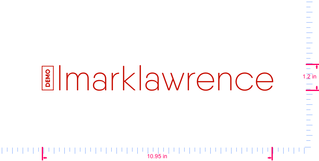 Text @lmarklawrence Vinyl custom lettering decal/1.2 x 10.95 in/ Red /