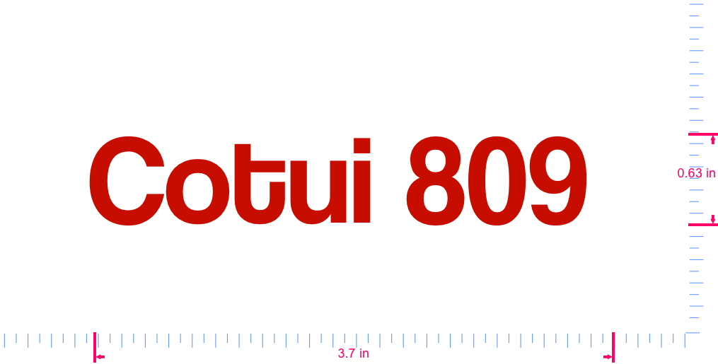 Text Cotui 809  Vinyl custom lettering decall/0.63 x 3.7 in/ Red /