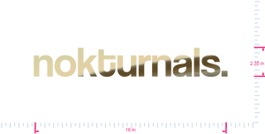 Text nokturnals. Vinyl custom lettering decal/2.35 x 16 in/ Gold Chrome /