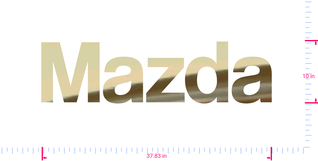 Text Mazda Vinyl custom lettering decal/10 x 37.83 in/ Gold Chrome /