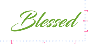 Text Blessed Vinyl custom lettering decal/5.54 x 17 in/ Lime-tree Green /