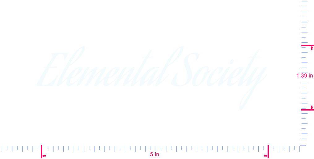 Text Elemental Society  Vinyl custom lettering decal/1.39 x 5 in/ White /