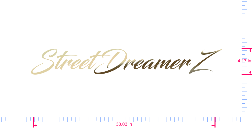 Text StreetDreamerZ  Vinyl custom lettering decal/4.17 x 30.03 in/ Gold Chrome /