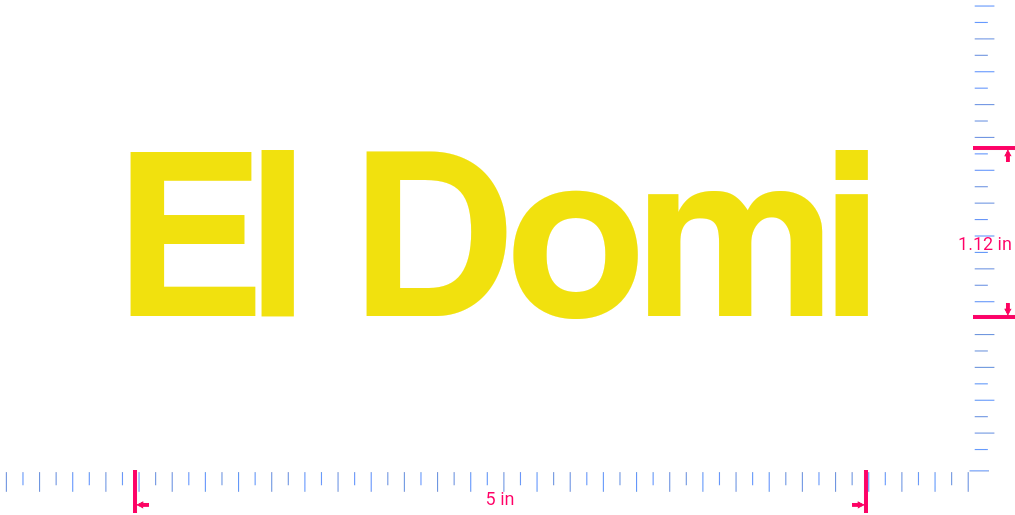 Text El Domi Vinyl custom lettering decall/1.12 x 5 in/ Yellow /