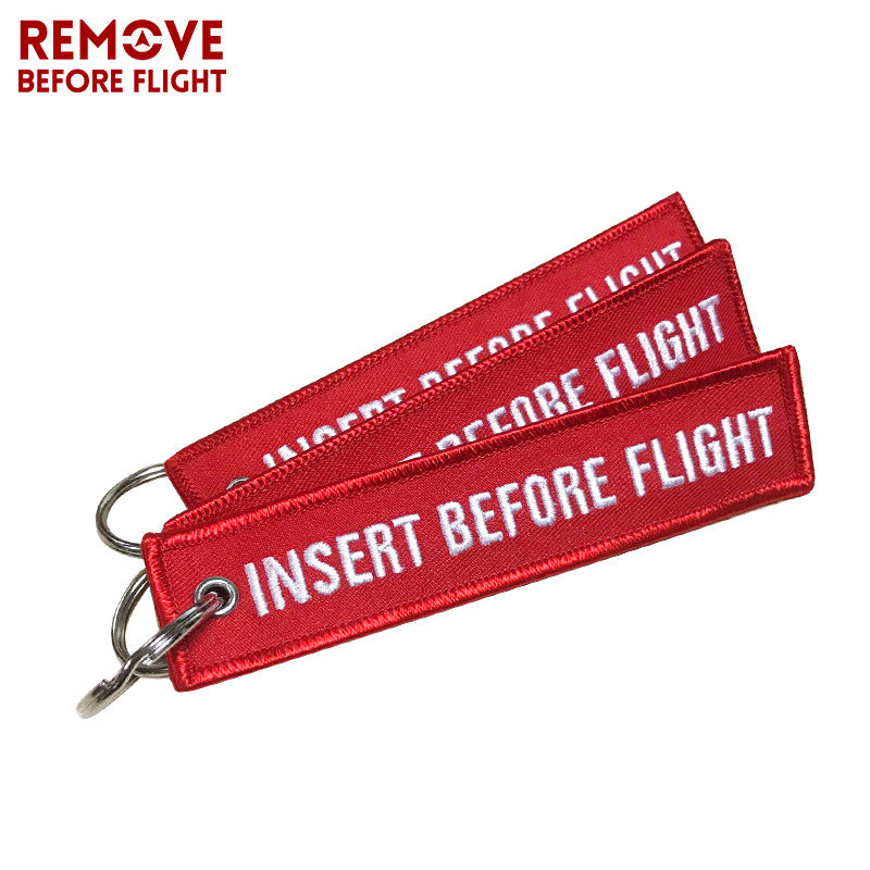 INSERT BEFORE FLIGHT  Key Chain Tag