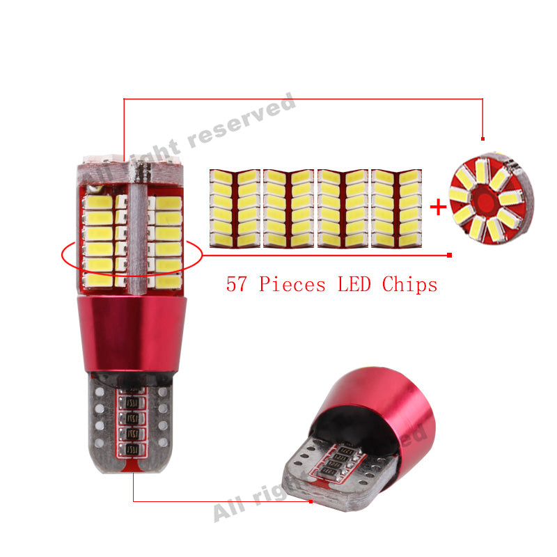 2 psc T10 W5W 194 White LED