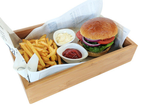 Burger on food presentation box