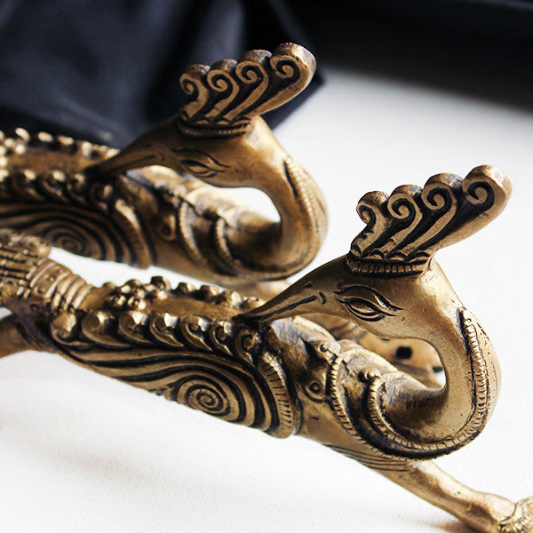 Pair of Hand Casted Brass Peacock Door Handles - L21 cm x W4 x H11 xm - theindianweave
