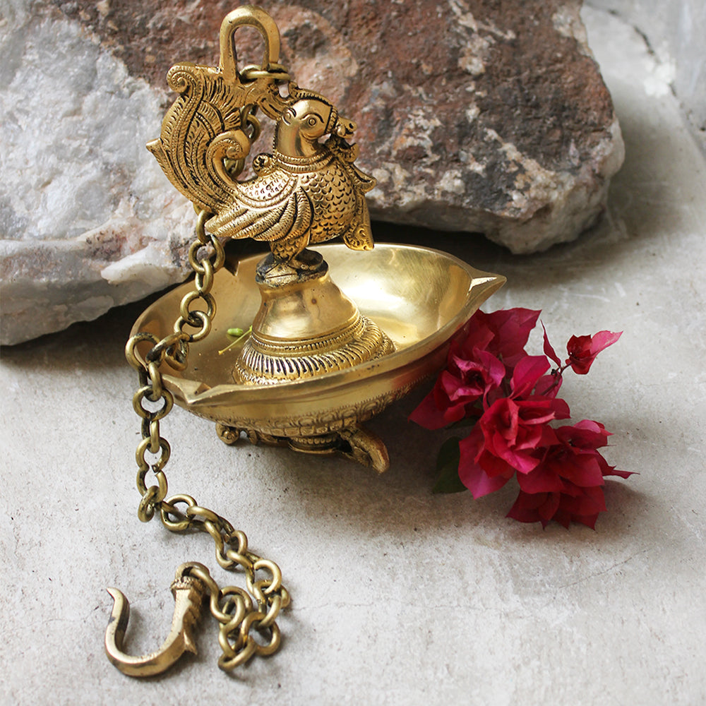 Exquisite Brass Oil Lamp Crafted With 4 Peacocks On A Chain - L 58 cm x Dia 15 cm