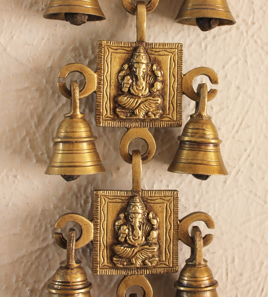 Wall Hanging Of Lord Ganesha With 11 Bells Handcrafted In Brass Size Theindianweave