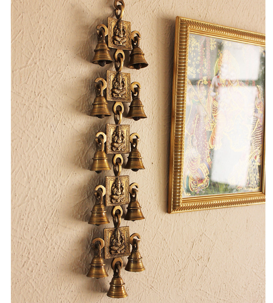 Wall Hanging of Lord Ganesha with 11 Bells Handcrafted In Brass - Size L 45 cm x W 9 cm - theindianweave