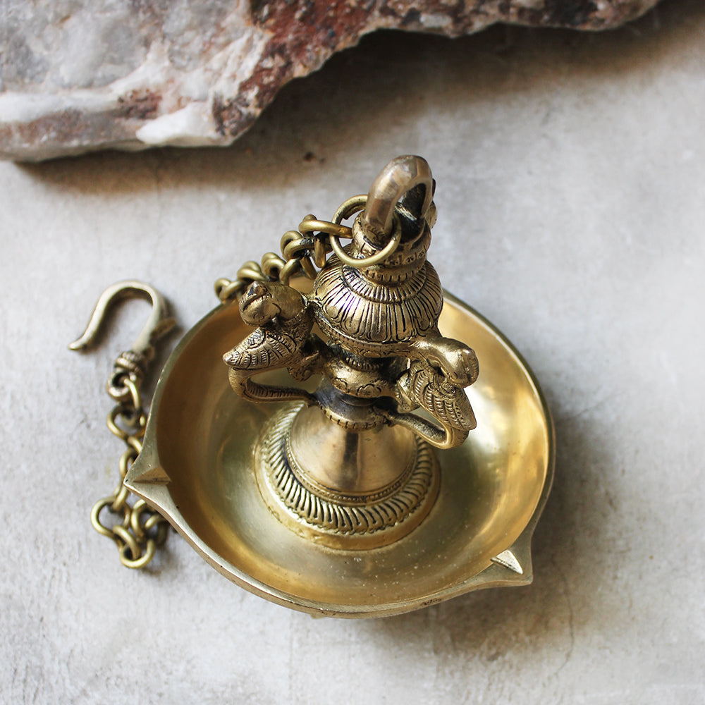 Exquisitely Handcrafted Brass Oil Lamp With 6 Peacocks On A Chain - L 60 cm x Dia 15 cm