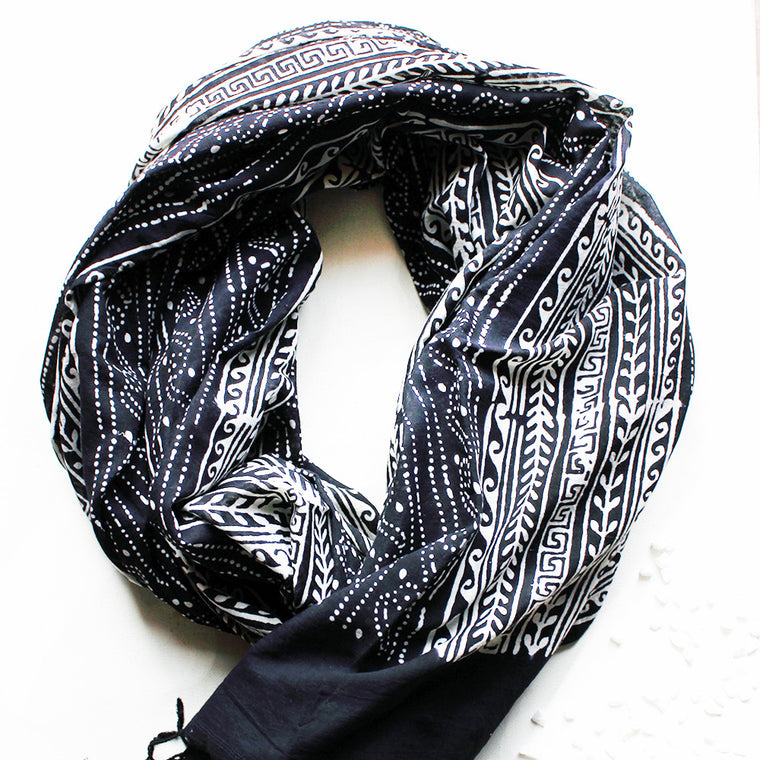 White & Black Cotton Stole | Scarf with Block printed Indian Floral & Leaf Design