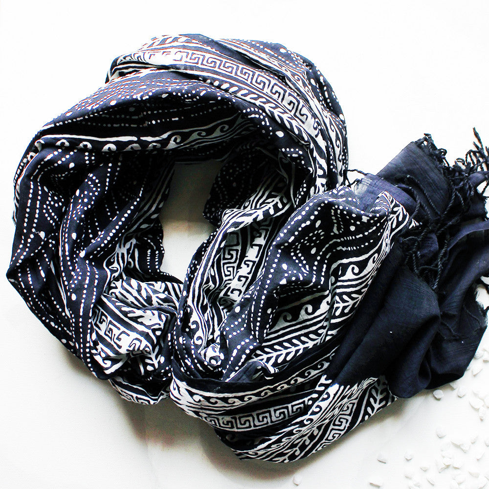 White & Black Cotton Stole | Scarf with Block printed Indian Floral & Leaf Design - theindianweave