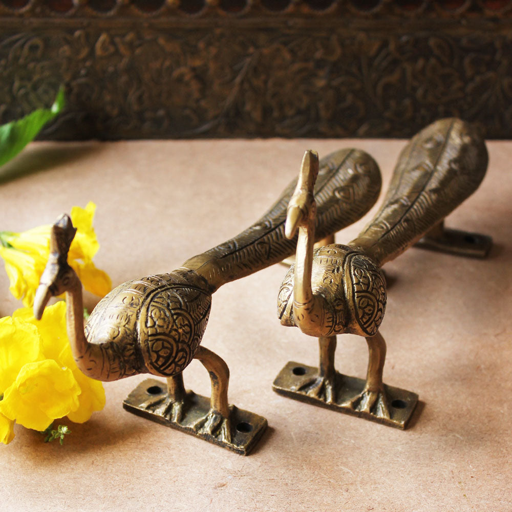 Exquisite Pair of Hand Casted Vintage Brass Peacock Door Handles With Engravings - L 24 cm x W6 cm x H9 cm