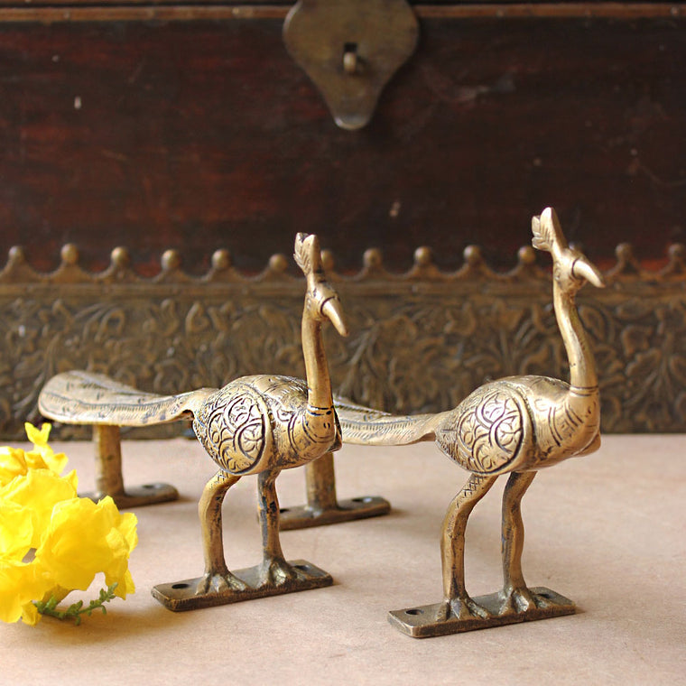 Exquisite Pair of Hand Casted Vintage Brass Peacock Door Handles With Engravings - L 24 cm x W6 cm x H9 cm - theindianweave